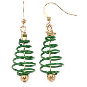 NWT! Spiral Christmas Tree Drop Earrings